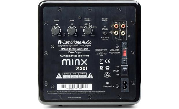 Cambridge Audio Minx X201 Back (Shown in black)
