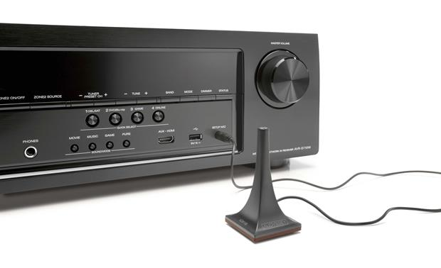 Denon AVR-S710W Front with included setup mic connected