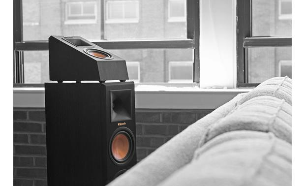 Klipsch Reference Premiere RP-140SA Placed on top of a Klipsch floor-standing speaker