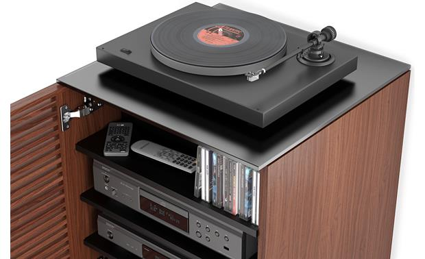 BDI Corridor 8172 Chocolate Stained Walnut - glass top supports a turntable (components and media not included)