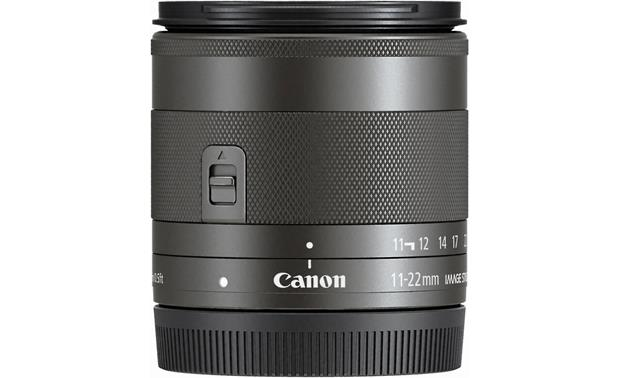 Canon EF-M 11-22mm f/4-5.6 STM Side with rear lens cap on