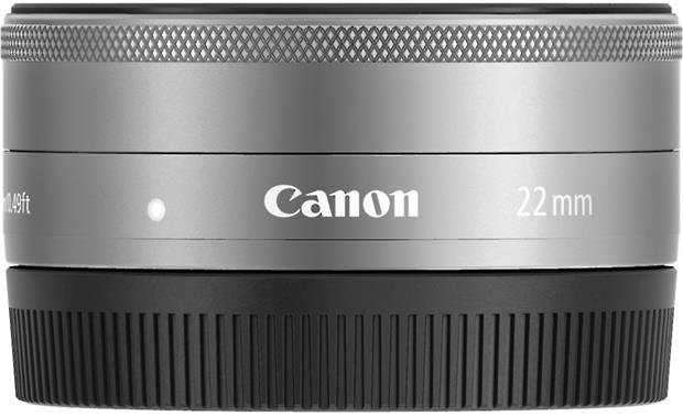 Canon EF-M 22mm F/2.0 STM Side with rear lens cap on