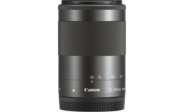 Canon EF-M 55-200mm f/4.5-6.3 IS STM Side with rear lens cap on (Black)