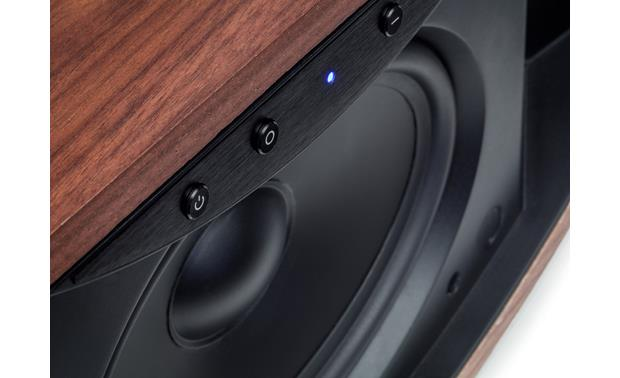 MartinLogan Crescendo X Grille removed to show front-firing woofer