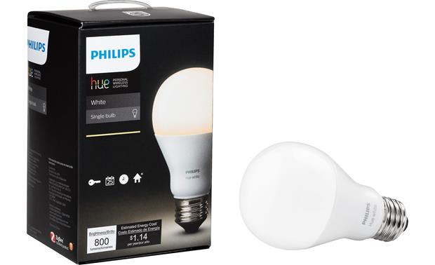 Philips Hue 2.0 A19 White Light Bulb Shown with packaging
