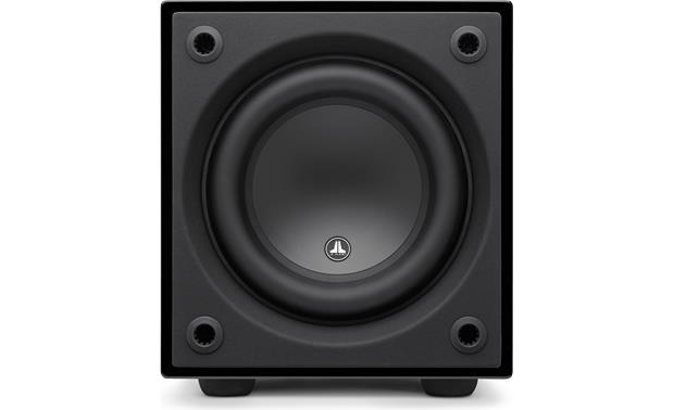 JL Audio Dominion™ d108 Direct front view with grille removed (Black Gloss)