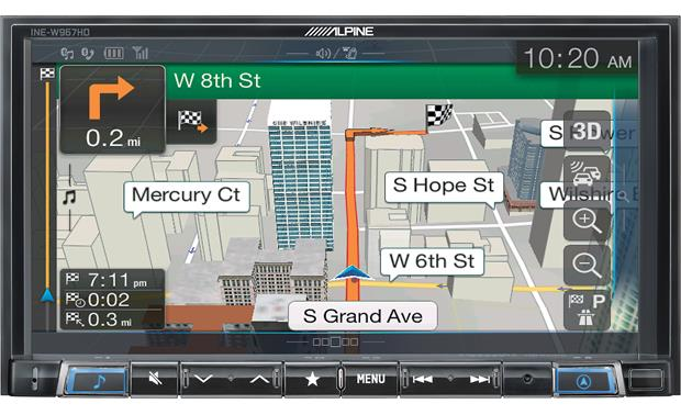 Alpine INE-W967HD 3D graphics in select areas highlight the INE-W967HD's navigation features.