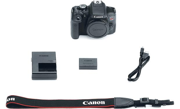Canon EOS Rebel T6i (no lens included) Shown with included accessories