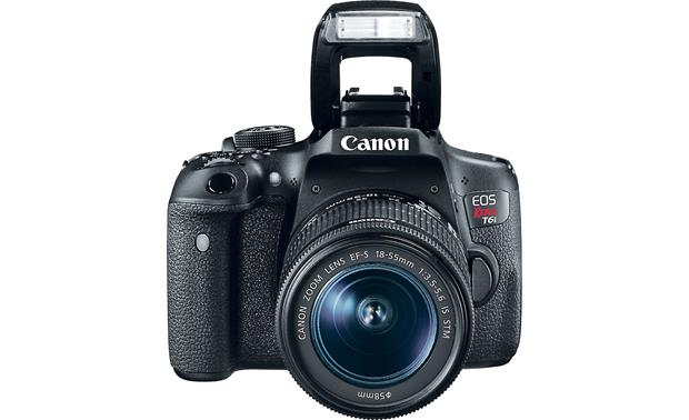 Canon EOS Rebel T6i Kit Shown with built-in flash deployed