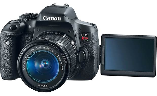 Canon T6i Two Zoom Lens Kit Front, with touchscreen rotated forward