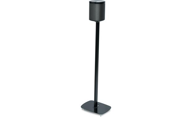 Flexson Floor Stand (pair) Black - left front view (Sonos PLAY:1 not included)