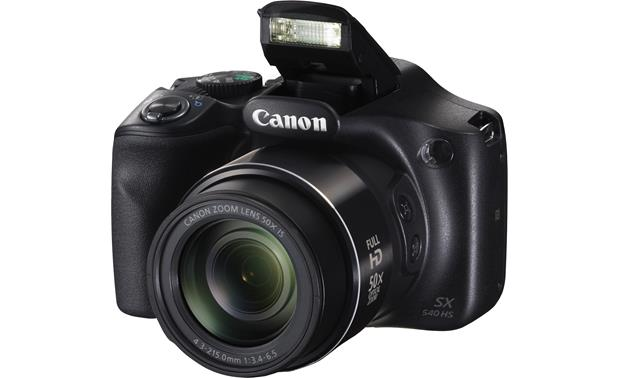 Canon PowerShot SX540 HS Shown with built-in flash deployed