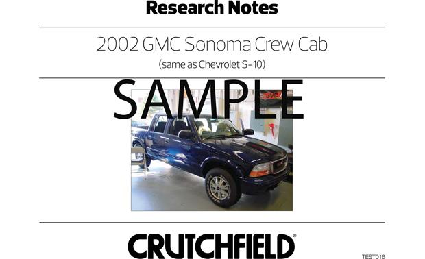 Crutchfield Vehicle-specific Instructions Instructions for 2002 GMC Sonoma