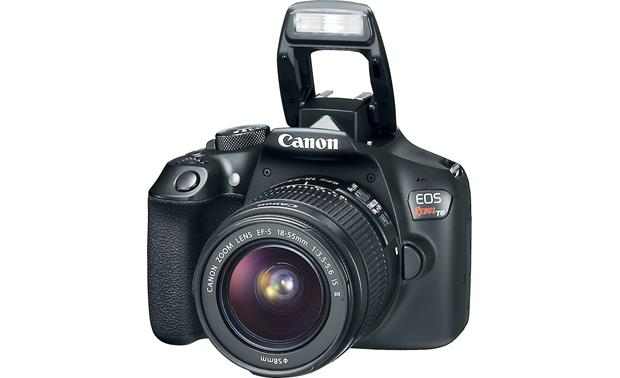 Canon EOS Rebel T6 Two Zoom Lens Kit With flash popped up