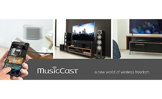 Yamaha RX-V581 MusicCast lets you set up a wireless whole home audio system with compatible Yamaha components