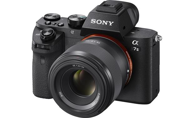 Sony Alpha SEL50F18F FE 50mm f/1.8 Shown mounted on Sony Alpha a7II mirrorless camera (not included)
