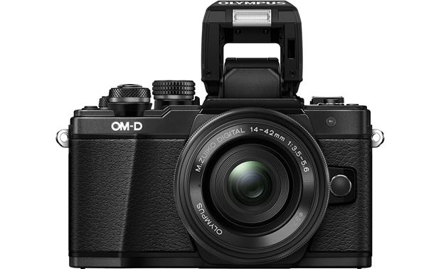 Olympus OM-D E-M10 Mark II Two Lens Kit Front with flash popped up