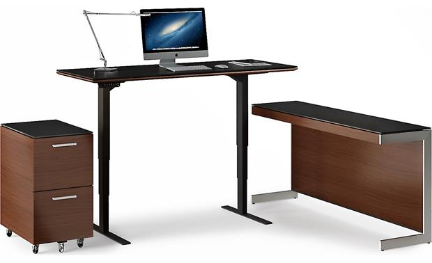 BDI Sequel 6051 Chocolate Stained Walnut - standing position (file pedestal and return available seperately, computer and accessories not included)