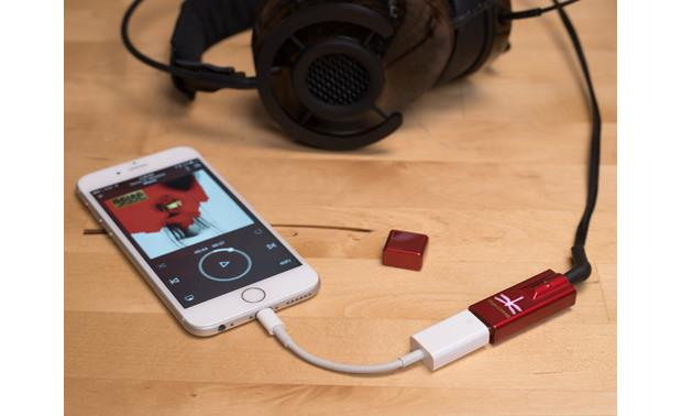 AudioQuest DragonFly® Red v1.0 Shown with optional smartphone adapter, phone, and headphones