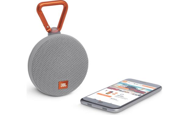 JBL Clip 2 Gray - stream via Bluetooth (smartphone not included)