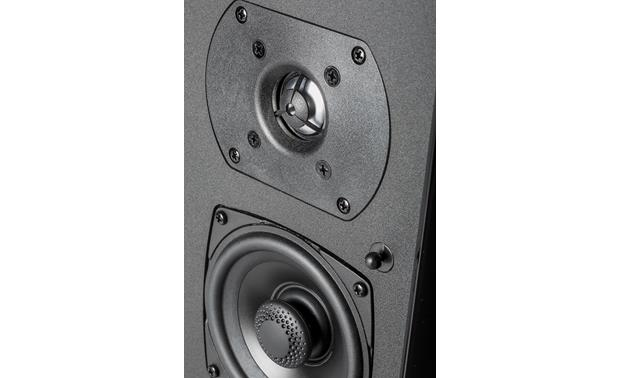 Definitive Technology SR-9080 Detailed view of BDSS mid/bass driver and annealed aluminum tweeter