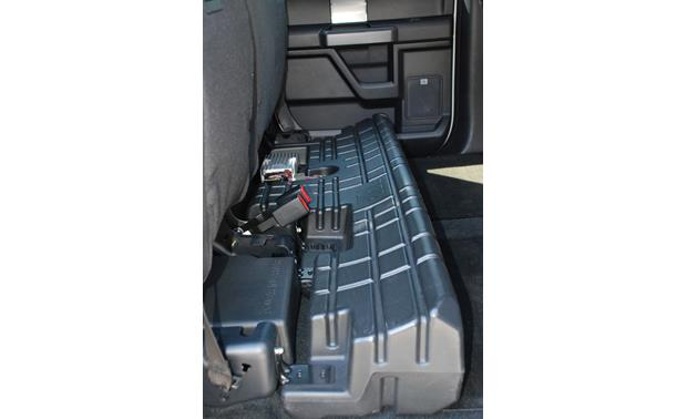 JBL Concert Edition Premium Audio Upgrade Rear seat folded up to show subwoofer and amp
