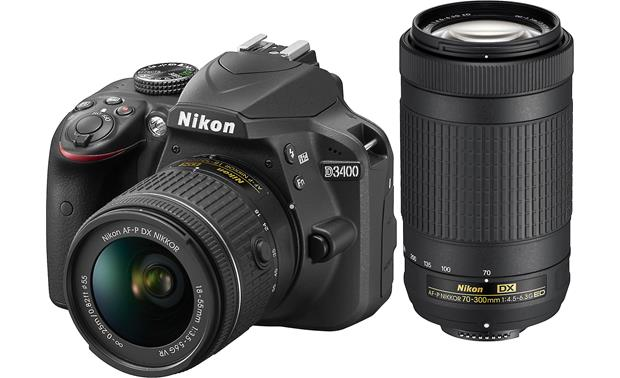 Nikon D3400 Two Lens Kit Shown with 18-55mm VR lens and 70-300mm ED lens