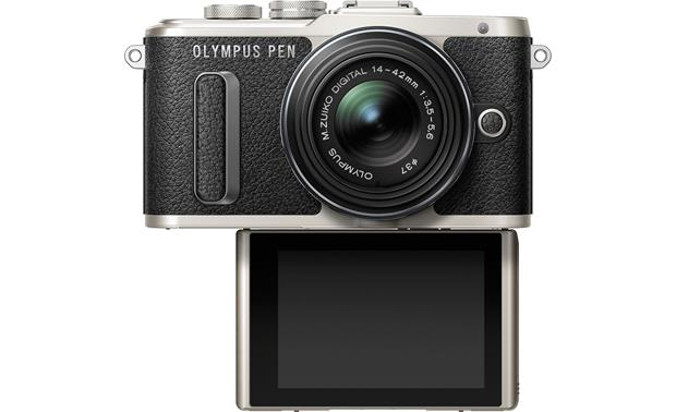 Olympus PEN E-PL8 Kit With touchscreen tilted downward in self-portrait orientation