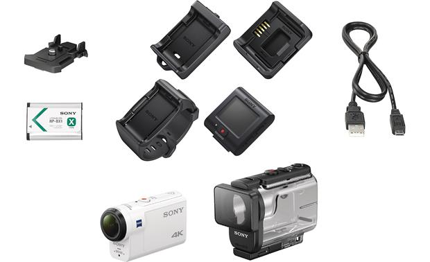 Sony FDR-X3000R Shown with included accessories