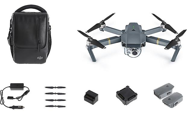 DJI Mavic Pro Quadcopter Fly More Combo Shown with included accessories