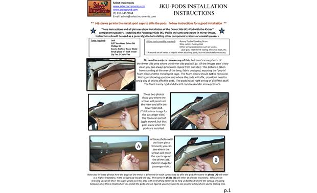 Select Increments JKU-Pods Installation Instructions: page 1