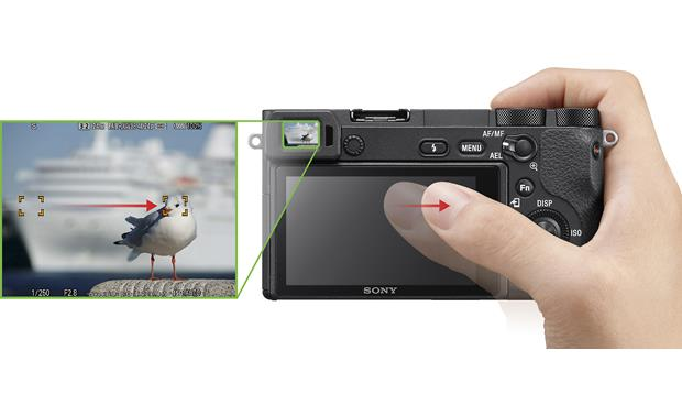 Sony a6500 (no lens included) Touch the LCD screen to focus, even with your eye to the viewfinder