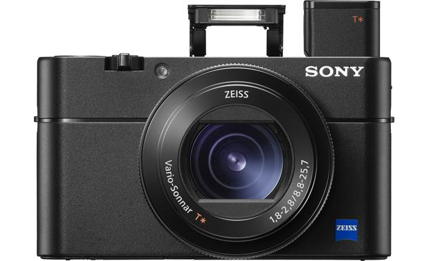 Sony Cybershot® DSC-RX100 V Front, with flash and viewfinder popped up