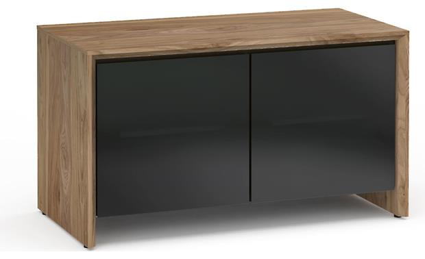 Salamander Designs Chameleon Collection Barcelona 221 Natural Walnut with Black Tempered Glass Doors