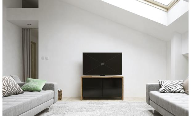Salamander Designs Chameleon Collection Barcelona 221 Natural Walnut with Black Tempered Glass Doors (TV not included)