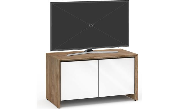 Salamander Designs Chameleon Collection Barcelona 221 Natural Walnut with Gloss White Doors - left front (TV not included)