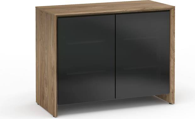 Salamander Designs Chameleon Collection Barcelona 323 Natural Walnut with black smoked glass doors