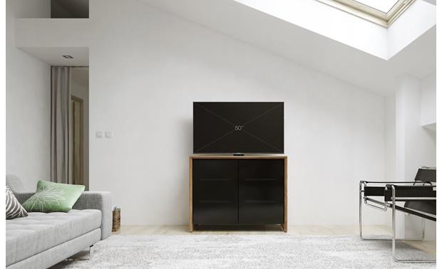Salamander Designs Chameleon Collection Barcelona 323 Natural Walnut with black smoked doors - Ideal for smaller rooms (TV not included)