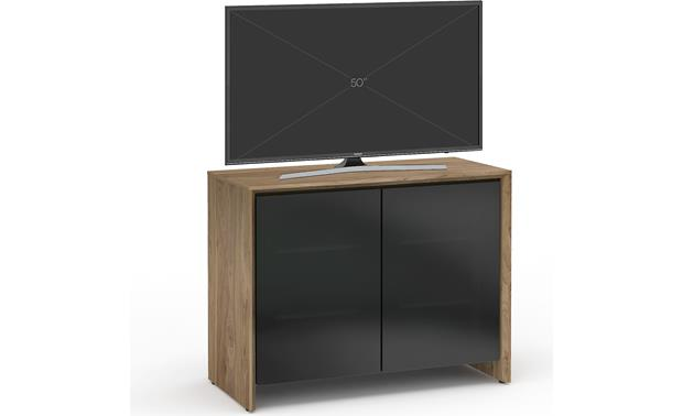Salamander Designs Chameleon Collection Barcelona 323 Natural Walnut with black smoked glass doors (TV not included)