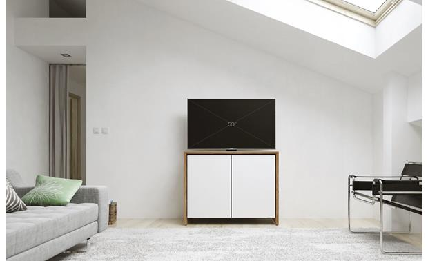 Salamander Designs Chameleon Collection Barcelona 323 Natural Walnut with gloss white doors - ideal for smaller rooms (TV not included)