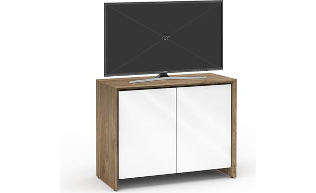 Salamander Designs Chameleon Collection Barcelona 323 Natural Walnut with gloss white doors (TV not included)