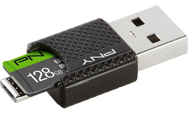 PNY Elite microSDXC card with OTG Reader Front