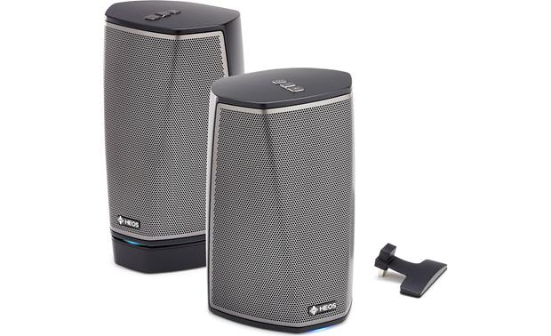 Denon HEOS 1 & Go Pack Bundle Go Pack connected to HEOS 1 on left, creating a portable, splash-proof speaker