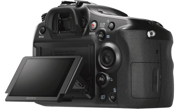 Sony Alpha a68 (no lens included) Back, with LCD screen tilted upward