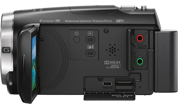 Sony Handycam® HDR-CX675 Left side, showing connections