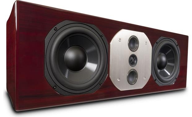 McIntosh LCR80 Angled front view with grille off (Red Walnut)