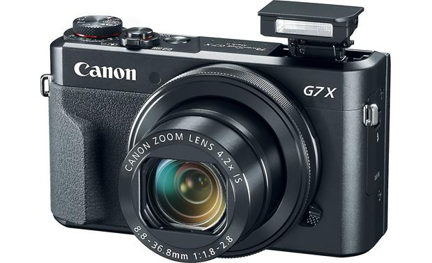 Canon PowerShot G7 X Mark II Shown with built-in flash deployed