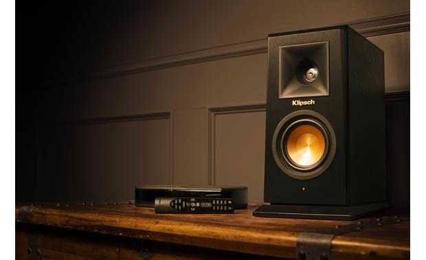 Klipsch Reference Premiere HD Wireless 5.1 Surround Sound System Shown with Wireless Control Center and remote