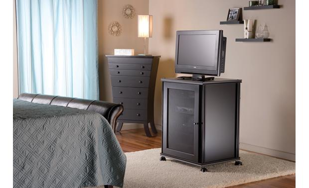 Salamander Designs Saturn Wheels Black Satin - castors with Synergy cabinet (cabinet, TV, and components not included)