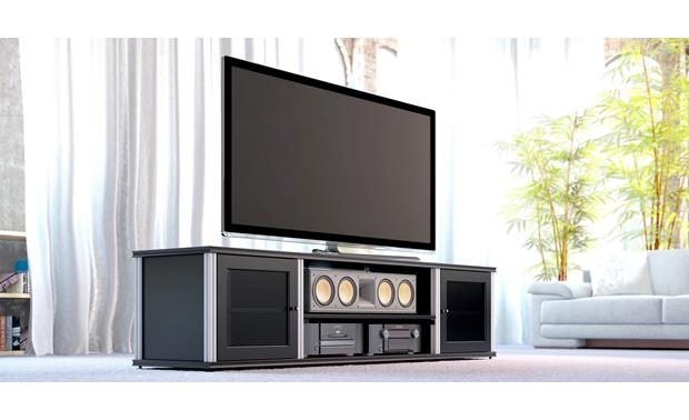 Salamander Designs Synergy System Model 248 Black with satin aluminum posts (TV and components not included)